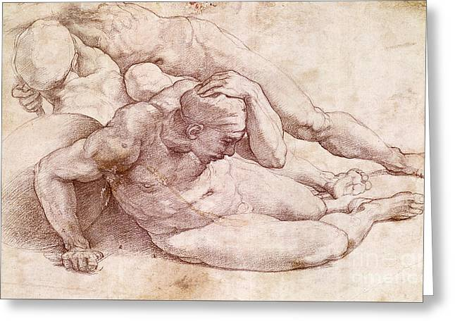 Study Of Three Male Figures  Greeting Card by Michelangelo