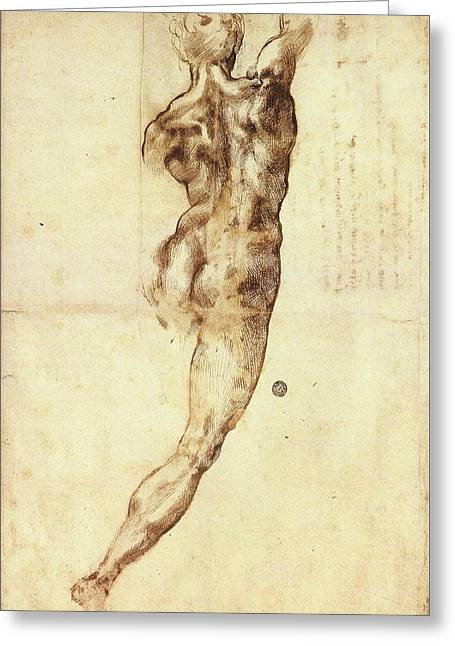 Study To Battle Of Cascina Greeting Card by Michelangelo Buonarroti