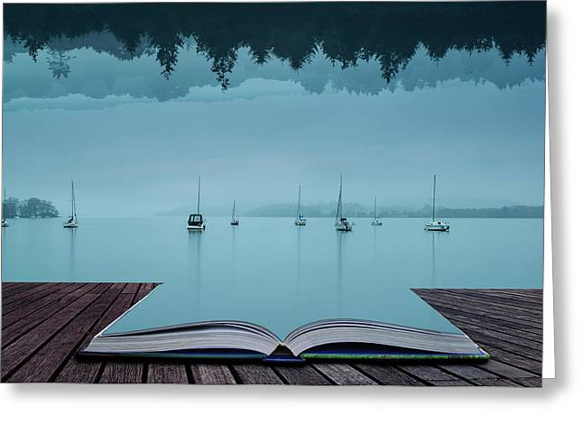 Stunning Impossible Puzzling Conceptual Landscape Image Of Lake  Greeting Card