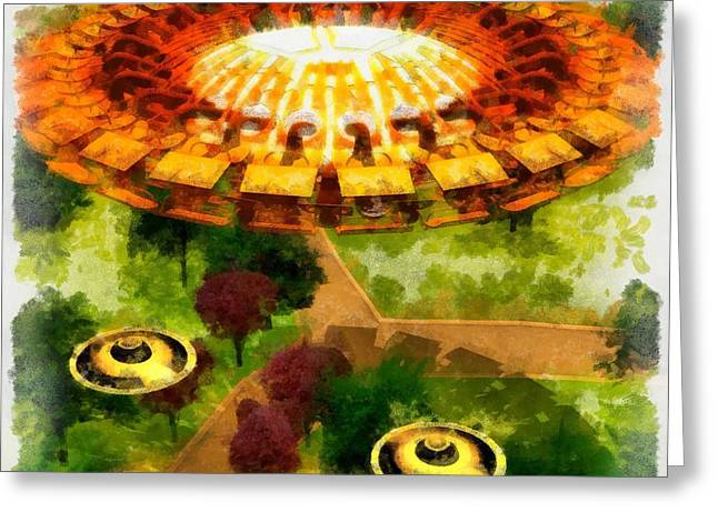 Suburban Ufo Greeting Card by Esoterica Art Agency
