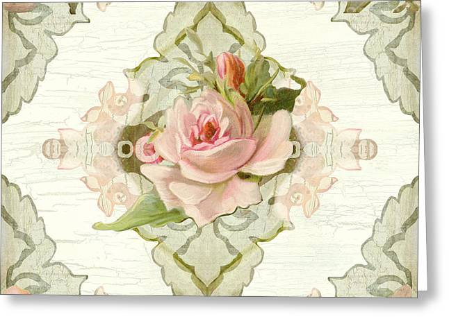 Summer At The Cottage - Vintage Style Damask Roses Greeting Card by Audrey Jeanne Roberts