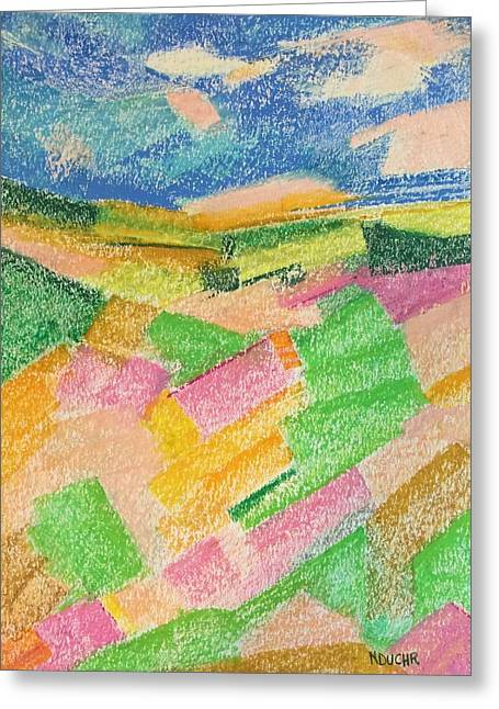 Greeting Card featuring the pastel Summer Fields  by Norma Duch