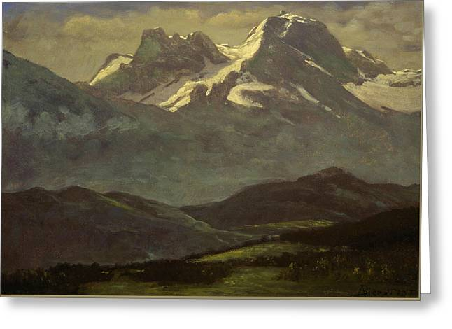 Summer Snow On The Peaks Or Snow Capped Mountains Greeting Card by Albert Bierstadt