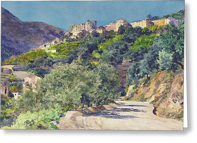Sun-drenched Hills Near Menton Greeting Card by Jules-Ferdinand Jacquemart