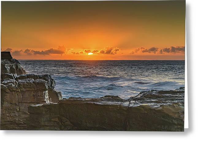Sun Rising Over The Sea Greeting Card