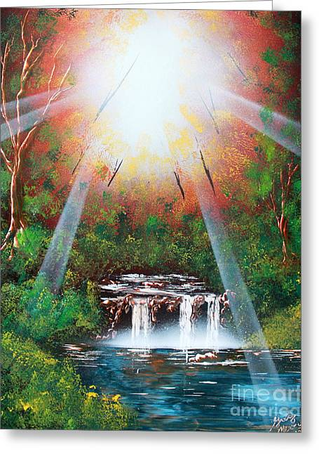 Sunbeam Falls Greeting Card by Greg Moores