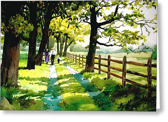Amish Family Paintings Greeting Cards - Sunday Afternoon Greeting Card by Dale Ziegler