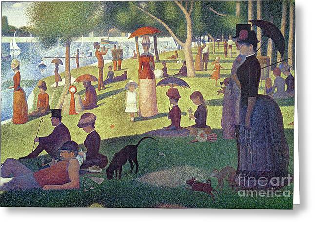 Dogs Paintings Greeting Cards - Sunday Afternoon on the Island of La Grande Jatte Greeting Card by Georges Pierre Seurat