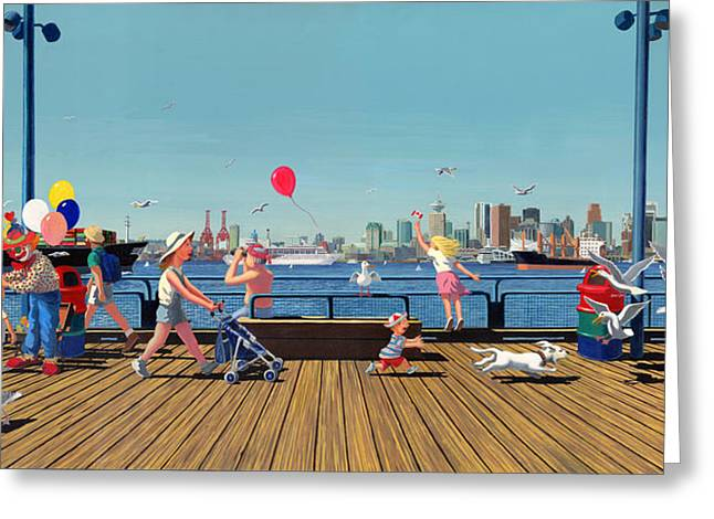 North Shore Paintings Greeting Cards - Sunday Morning Lonsdale Quay Greeting Card by Neil Woodward
