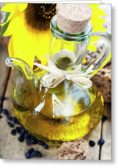 Sunflower Oil And Sunflower  Greeting Card by Natalia Klenova