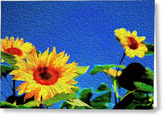 Sunflowers Abstract Greeting Card by Les Cunliffe