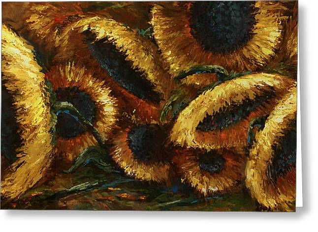 Pallet Knife Greeting Cards - Sunflowers Greeting Card by Michael Lang