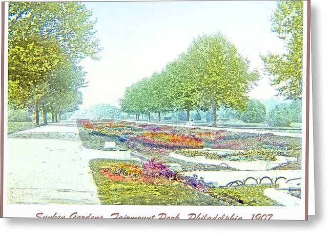 Sunken Gardens Fairmount Park Philadelphia 1907 Greeting Card by A Gurmankin