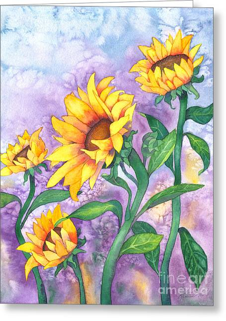 Greeting Card featuring the painting Sunny Sunflowers by Kristen Fox