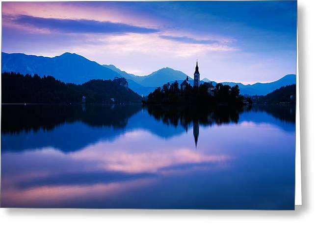Sunrise At Lake Bled Greeting Card by Ian Middleton