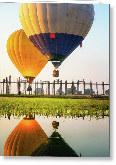 Sunrise At U Bein Bridge Greeting Card by Anek Suwannaphoom