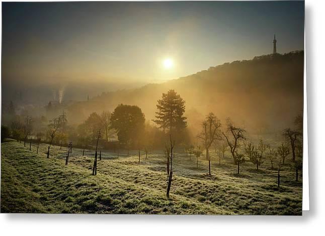 Sunrise From Petrin Yard In Prague, Czech Republic Greeting Card