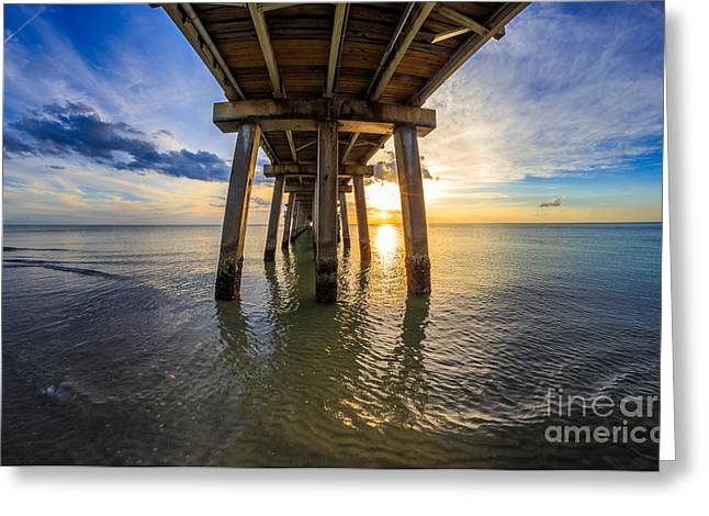 Sunrise Naples Pier Florida Greeting Card