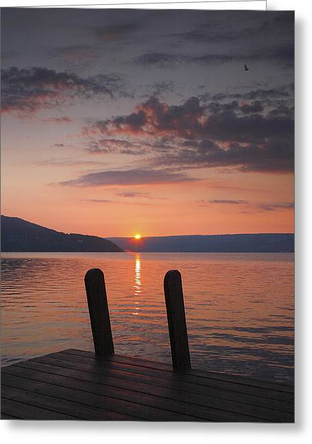 Keuka Greeting Cards - Sunrise Over Keuka V Greeting Card by Steven Ainsworth