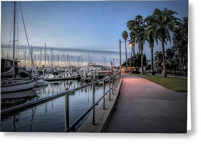 Sunrise Over Santa Barbara Marina Greeting Card