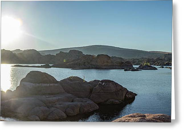 Sunrise Panorama - Watson Lake Greeting Card by Teresa Wilson