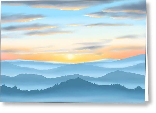 Greeting Card featuring the painting Sunrise by Veronica Minozzi
