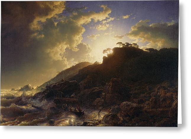 Sunset After A Storm On The Coast Of Sicily Greeting Card by Andreas Achenbach
