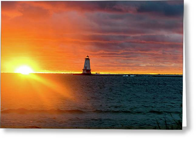 Sunset And Lighthouse Greeting Card
