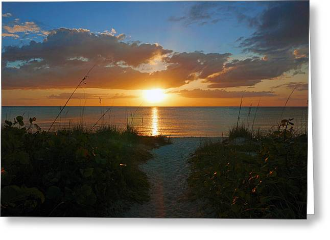 Sunset At Delnor Wiggins Pass State Park Greeting Card