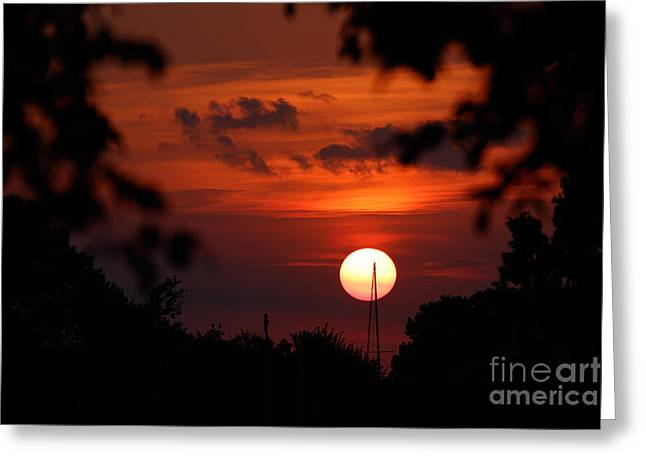 Sunset At Lake Hefner Greeting Card