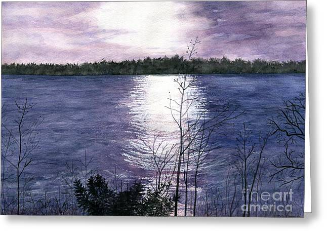 Greeting Card featuring the painting Sunset At Niagara River New York by Melly Terpening