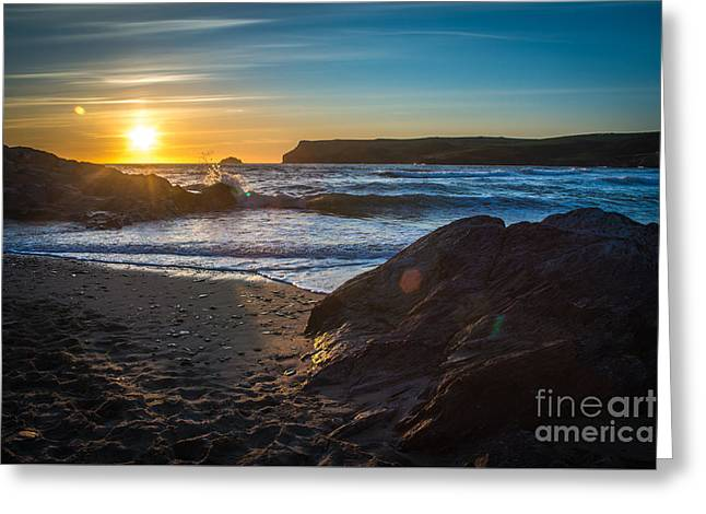 Sunset At Polzeath Greeting Card by Amanda Elwell
