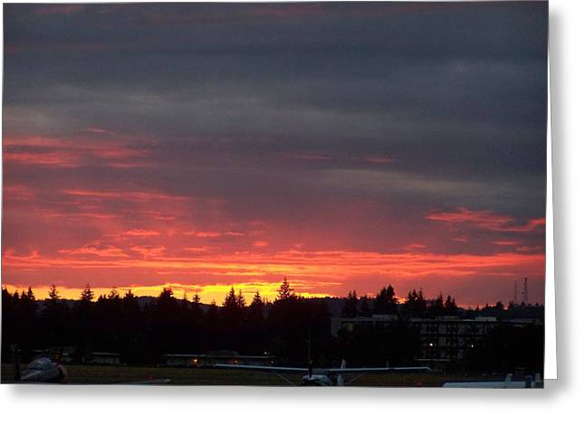 Sunset At Tumwater Greeting Card by Laurie Kidd
