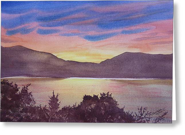 Greeting Card featuring the painting Sunset At Woodhead Campground by Joel Deutsch