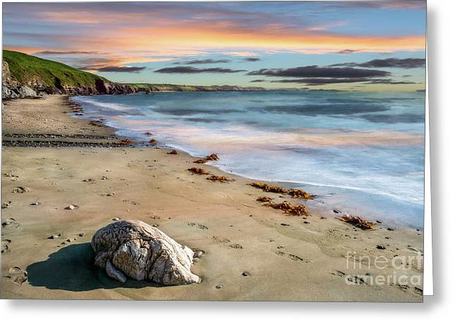 Sunset Beach Greeting Card by Adrian Evans