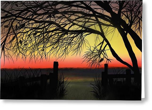 Sunset Greeting Card by Ed Berlyn