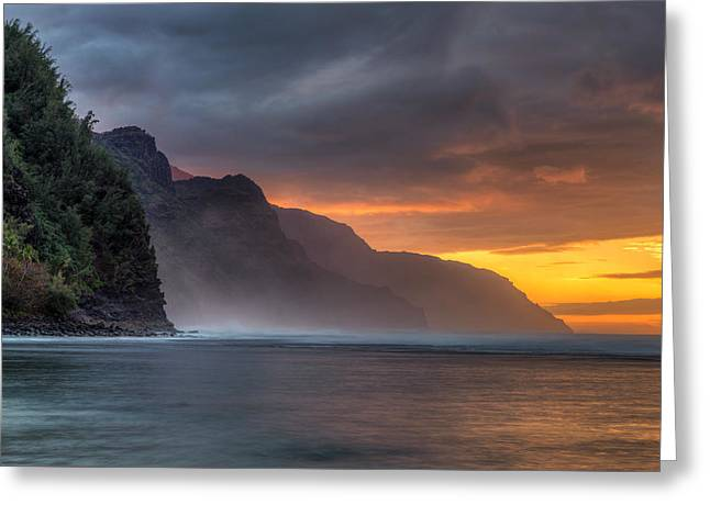 Sunset From Kee Beach Kauai Greeting Card by Pierre Leclerc Photography