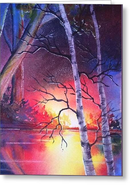 Sunset Glow Greeting Card by Marilyn Jacobson