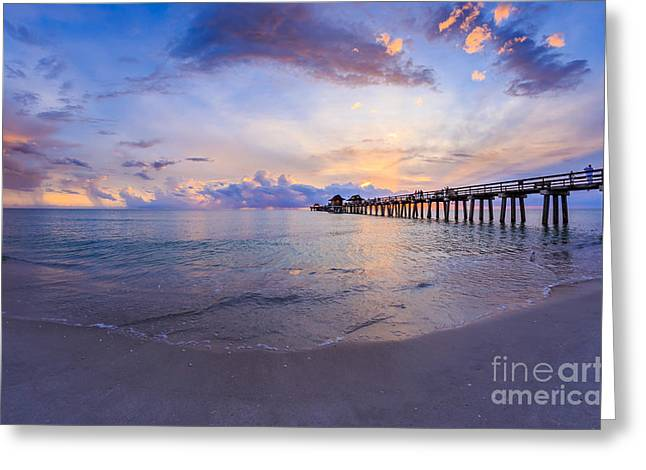 Sunset Naples Pier Florida Greeting Card