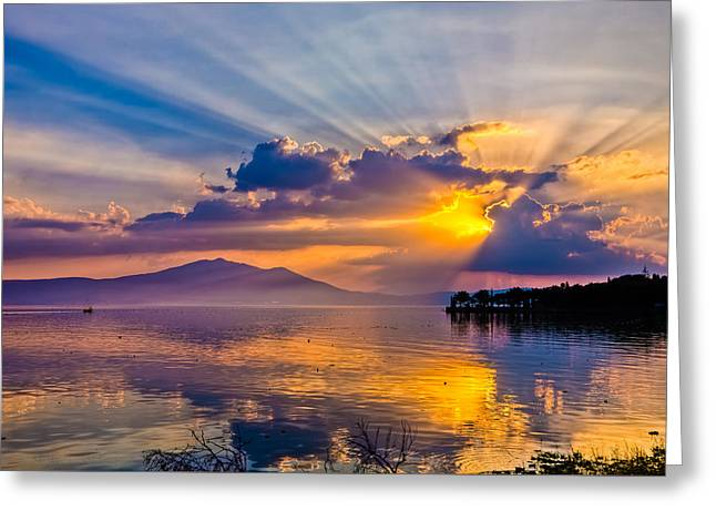 Sunset On Lake Chapala Greeting Card by Tommy Farnsworth