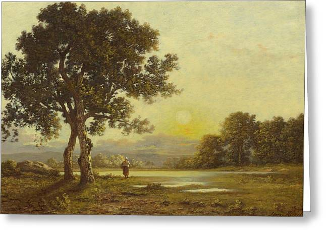 Sunset Over A Landscape With Trees Greeting Card