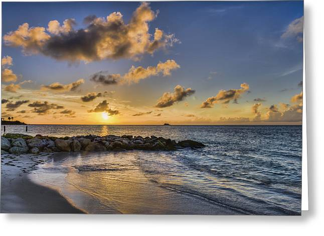 Sunset Over Dickenson Bay  St. John S Greeting Card