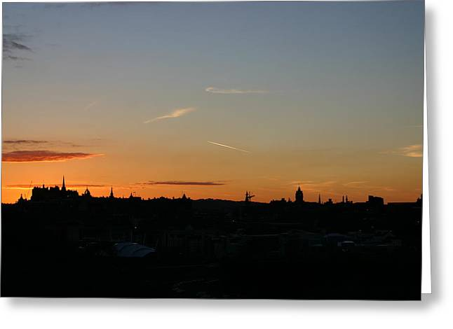 Sunset Over Edinburgh 2 Greeting Card by Fraser McCulloch