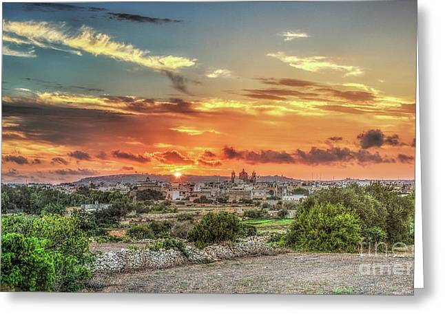 Sunset Over Qrendi Greeting Card by Stephan Grixti
