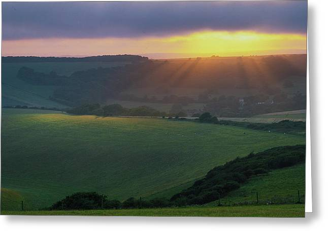 Sunset Over The South Downs Greeting Card