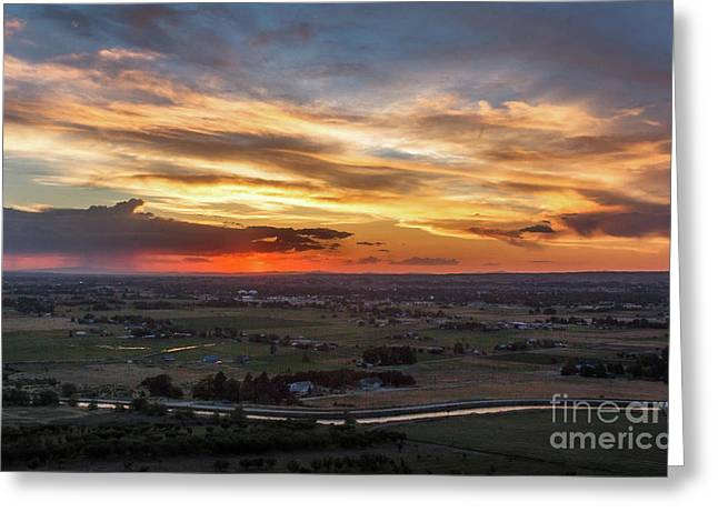 Sunset Over The Valley  Greeting Card by Robert Bales