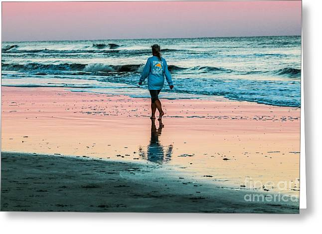 Sunset Stroll In The Surf Hilton Head Greeting Card
