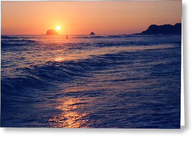 Sunset Swimmer At Zipolite  Greeting Card by Lyle Crump