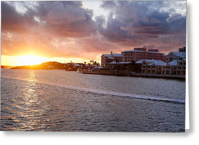 Sunset View Of Hamilton Bay Bermuda Greeting Card by George Oze
