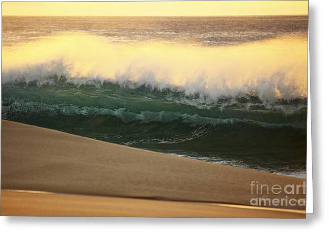 Sunset Wave Greeting Card by Vince Cavataio - Printscapes